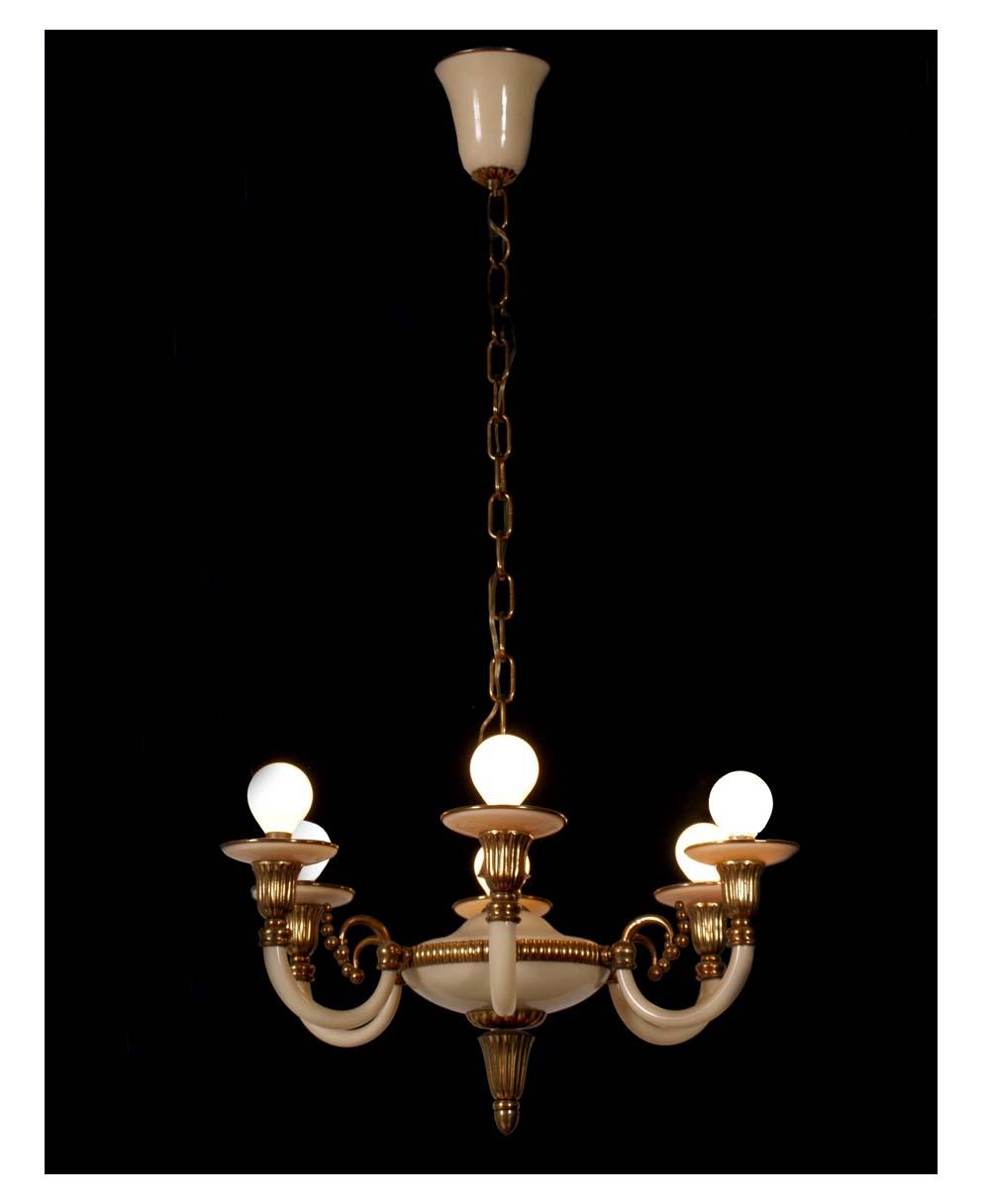 lampadari art deco : Lampadario art dec? vintage anni 30 bianco e ottone 6 luci