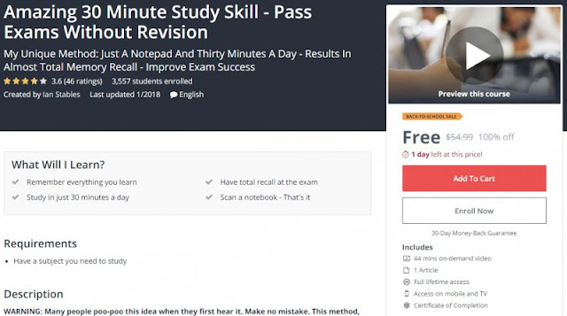 [100% Off] Amazing 30 Minute Study Skill - Pass Exams Without Revision| Worth 54,99$