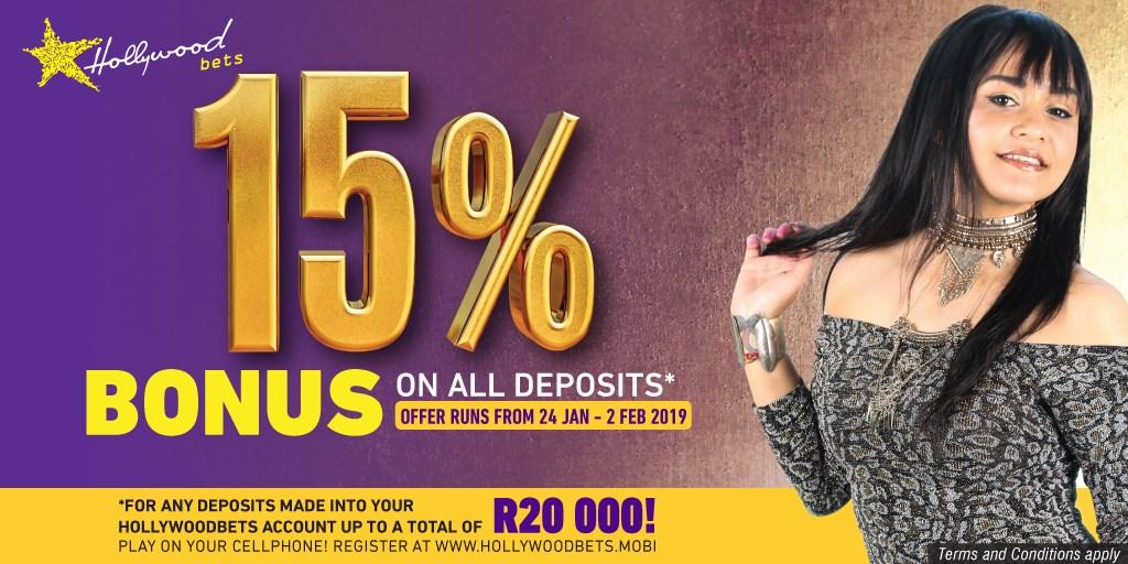 15% Bonus Deposit Promotion - Hollywoodbets - Sun Met