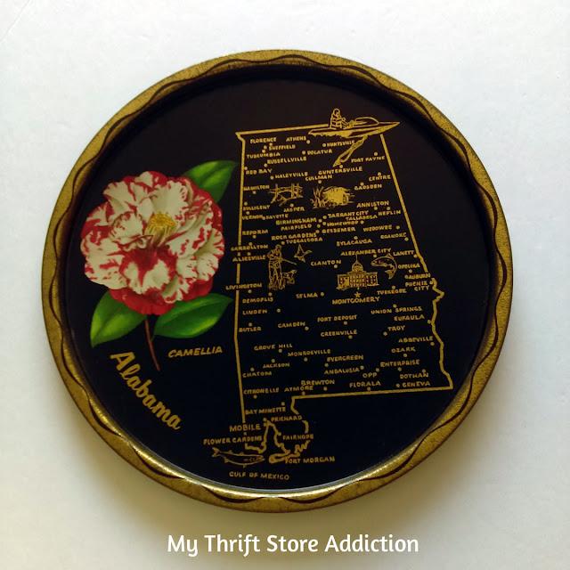 vintage Alabama State souvenir tray