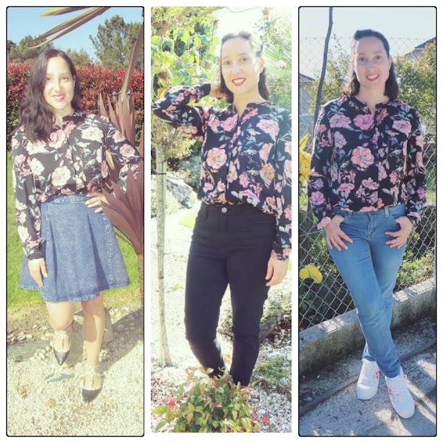 Tres outfits con una camisa de flores