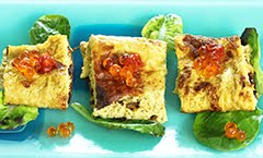 Japanese Tanaga (Omelet) Wrap with Salmon Roe & GochuJang Hot Pepper Sauce