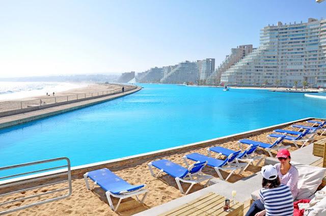 kolam renang terbesar di dunia di San Alfonso Del Mar, World's Largest Swimming Pool San Alfonso Del Mar, kolam renang buatan manusia air laut, San Alfonso Del Mar resort, kolam terbesar dan cantik di CHile