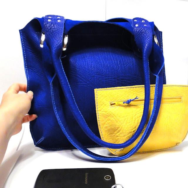 Сумка женская кожа Синий ультрамарин и ярко-желтый. Ручная работа. Доставка почтой или курьером