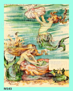 vintage postcard mermaids
