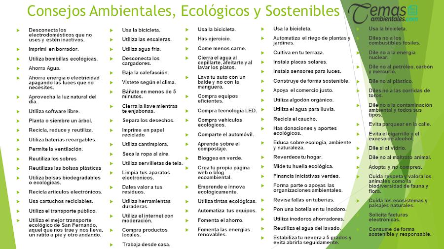 Consejos para llevar una Vida Ecológica, Verde y Sostenible