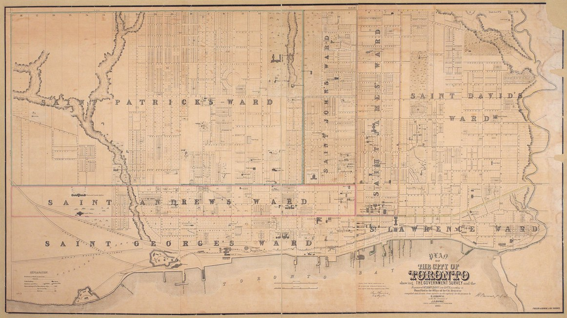1862 Plan of Toronto by HJ Browne showing lots - uncolored