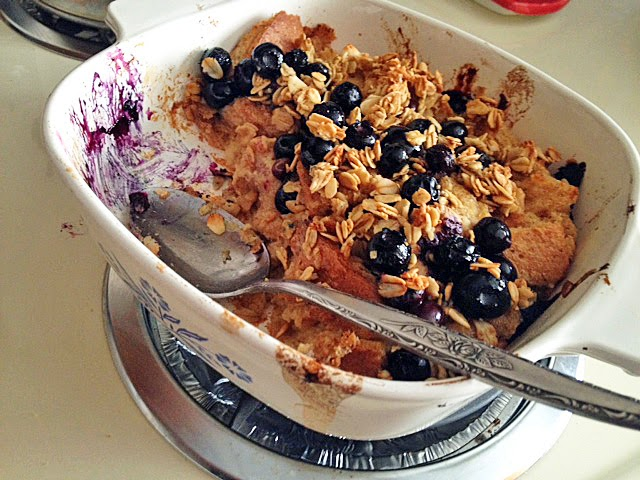 vegan baked French toast topped with blueberry maple crisp