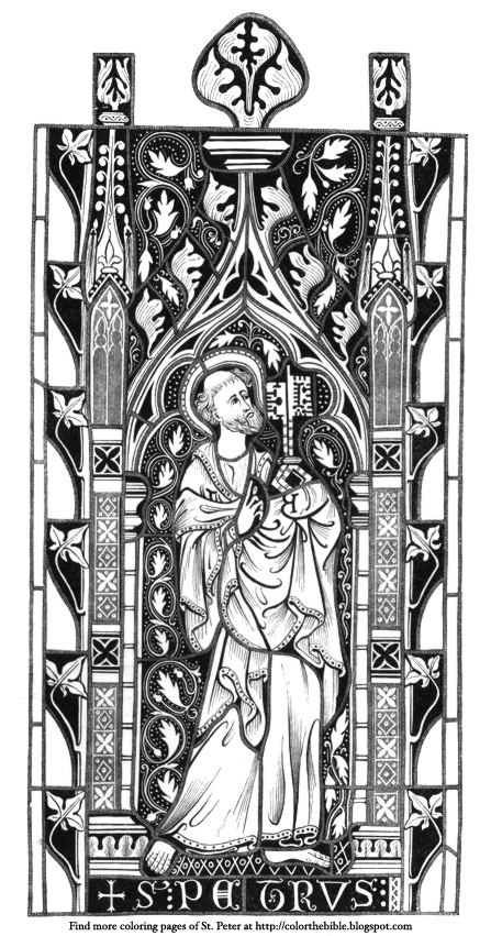 Description Of The Coloring Page Saint Peter Holding Keys To Kingdom Stained Glass Window Church Architecture