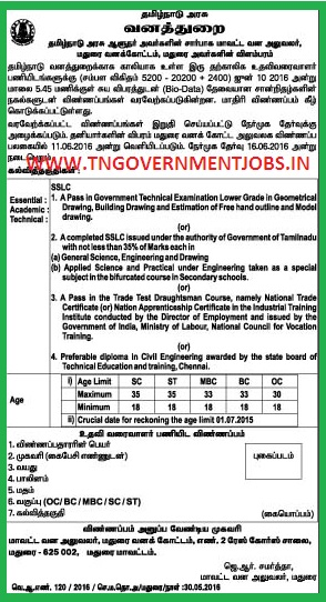 Applications are invited for Asst Draughtsman Post in Tamil Nadu Forest Department in Madurai Division