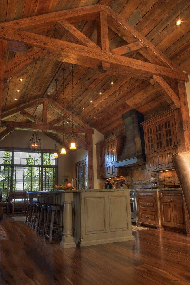 Ceiling Truss Kitchen Rustic With Island Traditional Wall And Floor Tiles