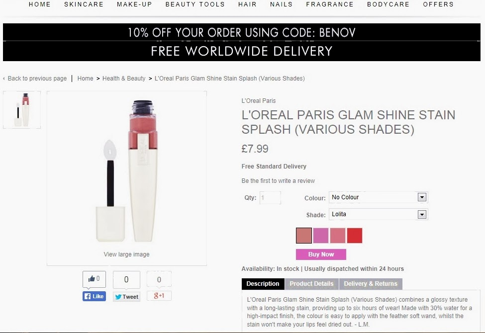 http://go.redirectingat.com?id=58170X1354834&xs=1&url=http%3A%2F%2Fwww.beautyexpert.co.uk%2Fl-oreal-paris-glam-shine-stain-splash-various-shades%2F10844193.html%3Fvwo_ac%3Dtrue