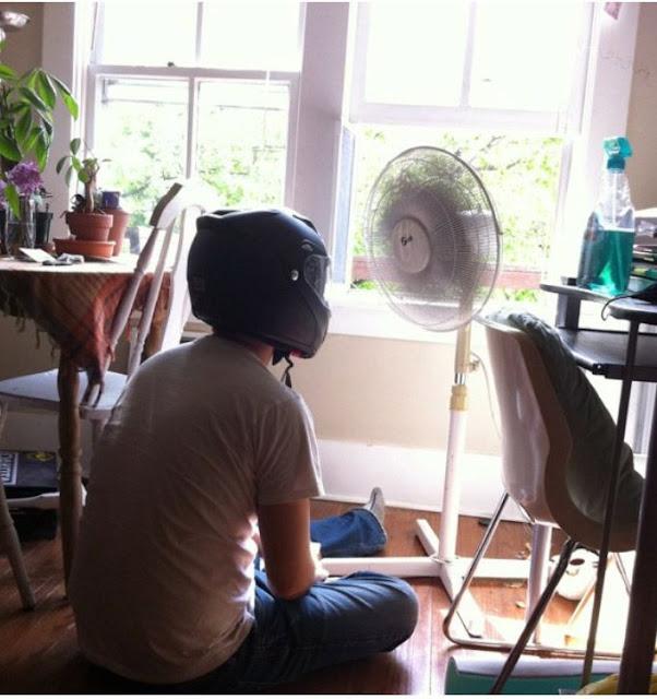 putting on a helmet