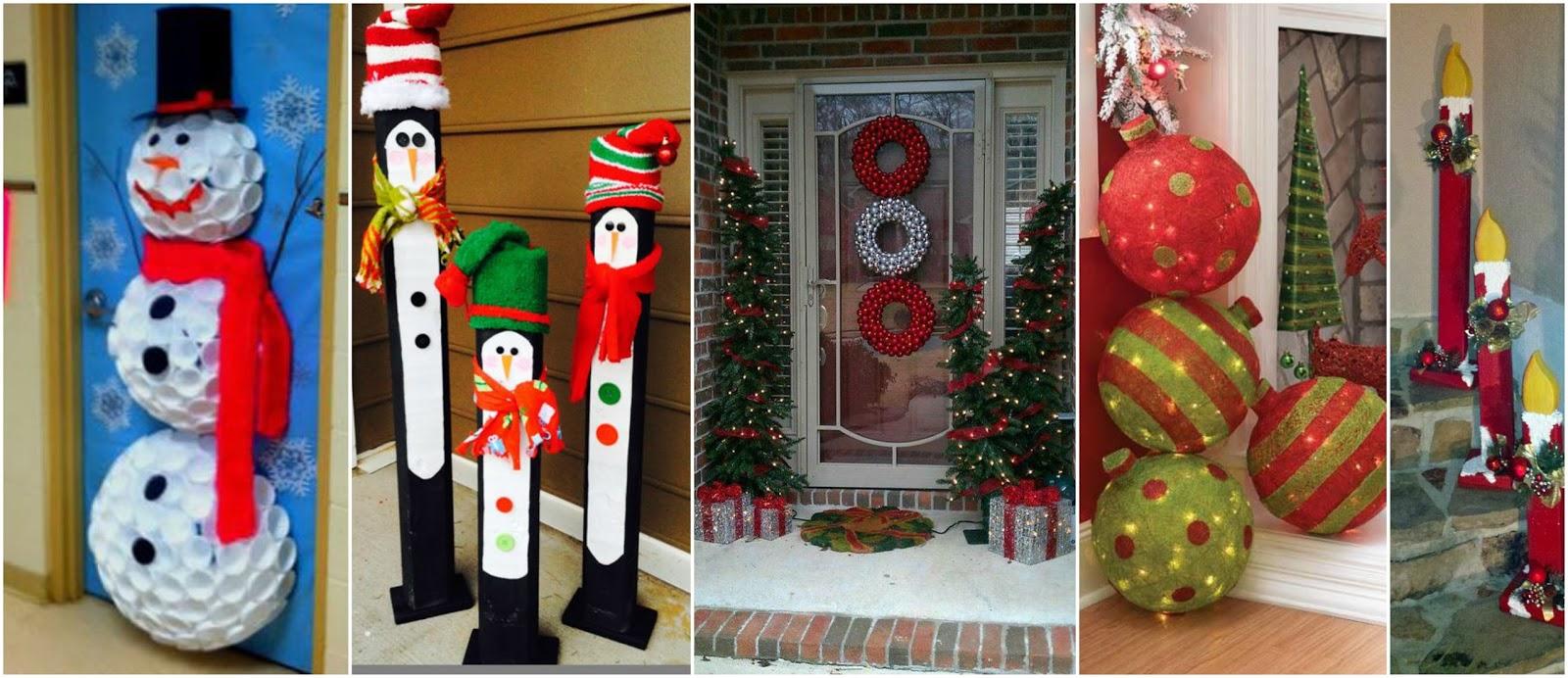 8 ideas de adornos navide os que van en la entrada de la for Disenos navidenos para decorar puertas