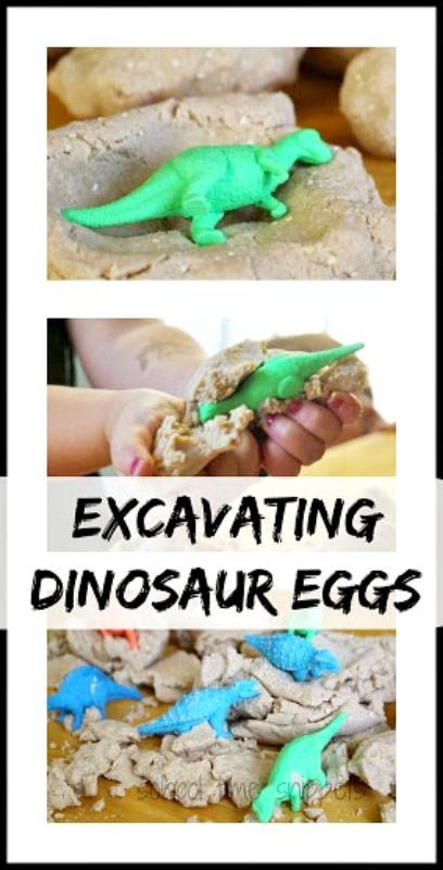 playdough dinosaur eggs excavation activity