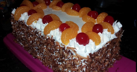 Hot Milk Sponge Cake with Fresh Fruit & Coconut