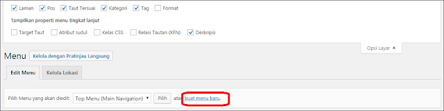 cara membuat menu navigasi wordpress