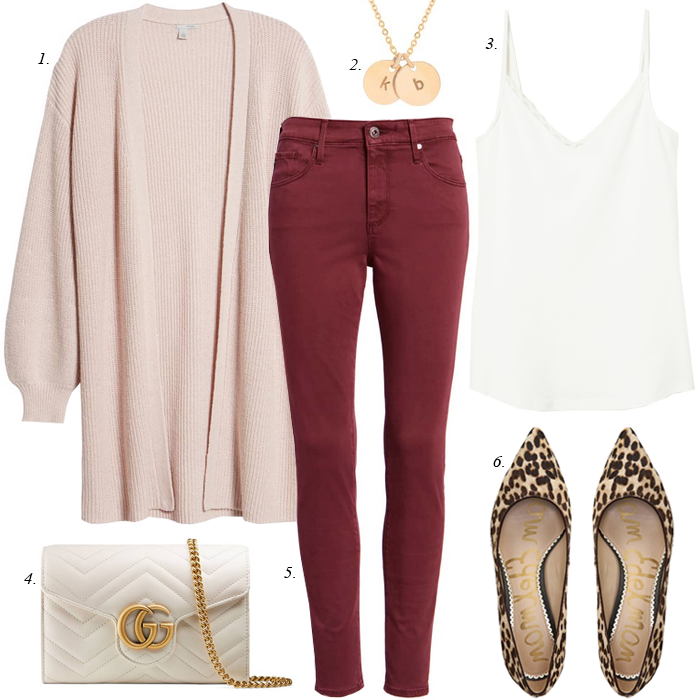 skinny jeans, cardigan, leopard pumps