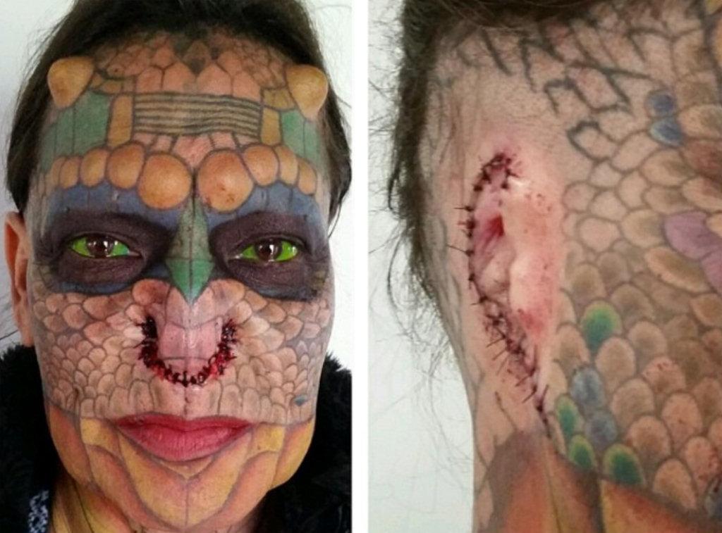 b190c54f25 Mulher transgênero remove orelhas e nariz para se converter em Mulher Dragão