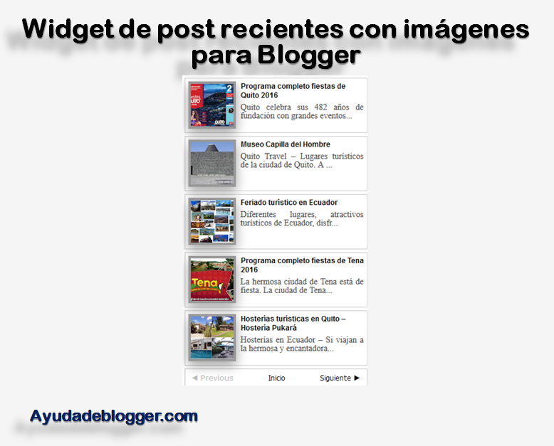 Widget de post recientes con imágenes para mi blog de Blogger