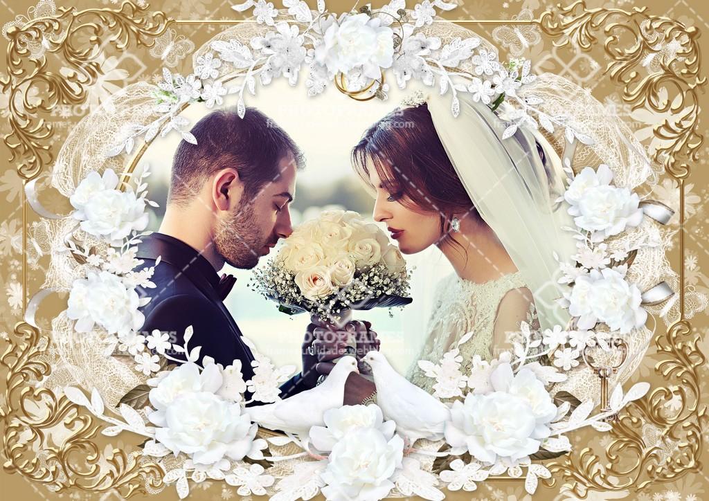 Hermoso marco para fotos de boda color bronce