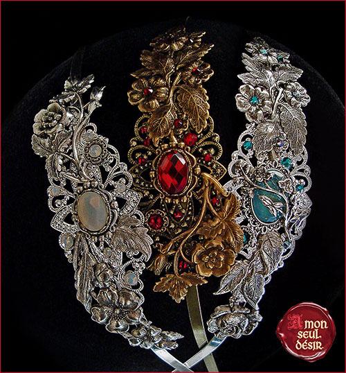 serre tête fleurs couronne cheveux mariage elfique féerique argent bronze