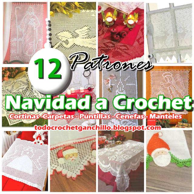 12 patrones gratis crochet de manteles, cortinas y carpetas