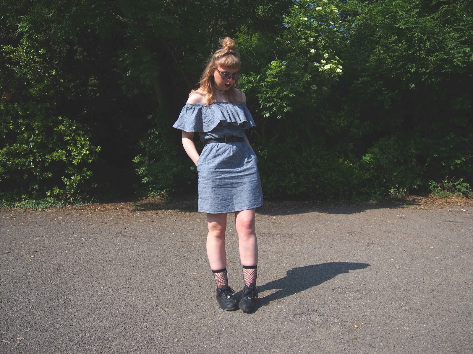 bardot ruffle dress, frilly dress, frills, warehouse house of fraser dress, off the shoulder dress, spring summer outfit, choker, nike air force 1's, fishnet socks, grunge alternative unique style inspiration 0