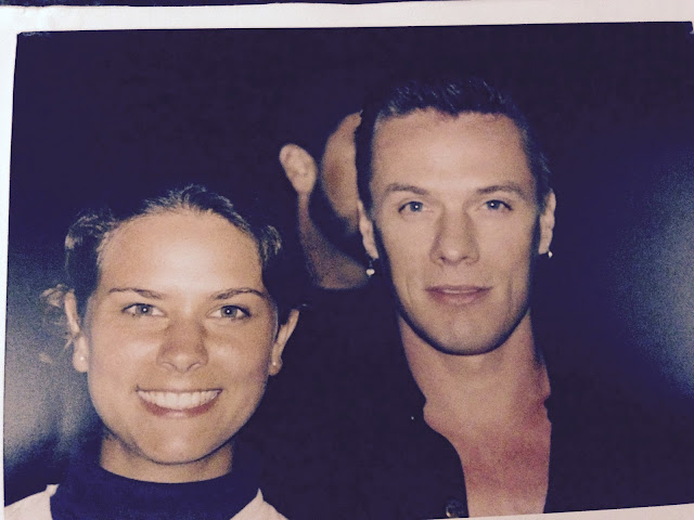 Larry Mullen and me 1997 after the Popmart show in Cologne