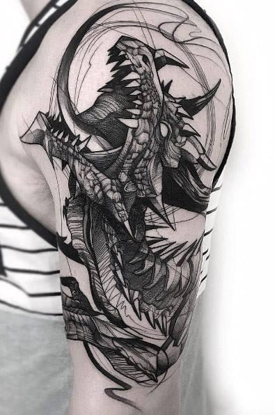 Hình xăm phác thảo tuyệt đẹp trên cánh tay cho nam giới