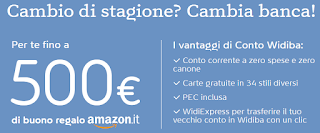 Widiba ti Regala fino a 500€ in Buoni Amazon