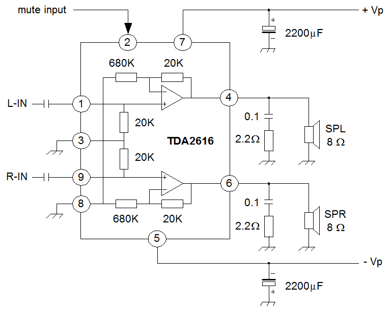 5 1 Home Theater Circuit Diagram Farmall A Wiring Audio Amplifier With Ic An7522, An7523 And Tda2616 - Power