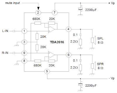 audio amplifier with ic an7522 an7523 and tda2616 electronic circuit. Black Bedroom Furniture Sets. Home Design Ideas