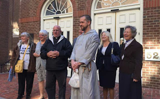 "The Virginia ""Red Rose Rescuers"" from left to right: Joan Andrews Bell, Bonnie Borel Donahue, Fr. Stephen Imbarrato, Fr. Fidelis Moscinski, CFR, Julia Haag, and Joan McKee. Between the two priests is their attorney Chris Kachouroff."