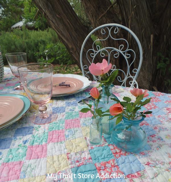 romantic vintage picnic tablescape