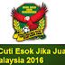 Kedah Cuti Esok Jika Juara Piala Malaysia 2016