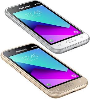 Samsung Galaxy J1 mini prime warna putih dan emas bagian depan