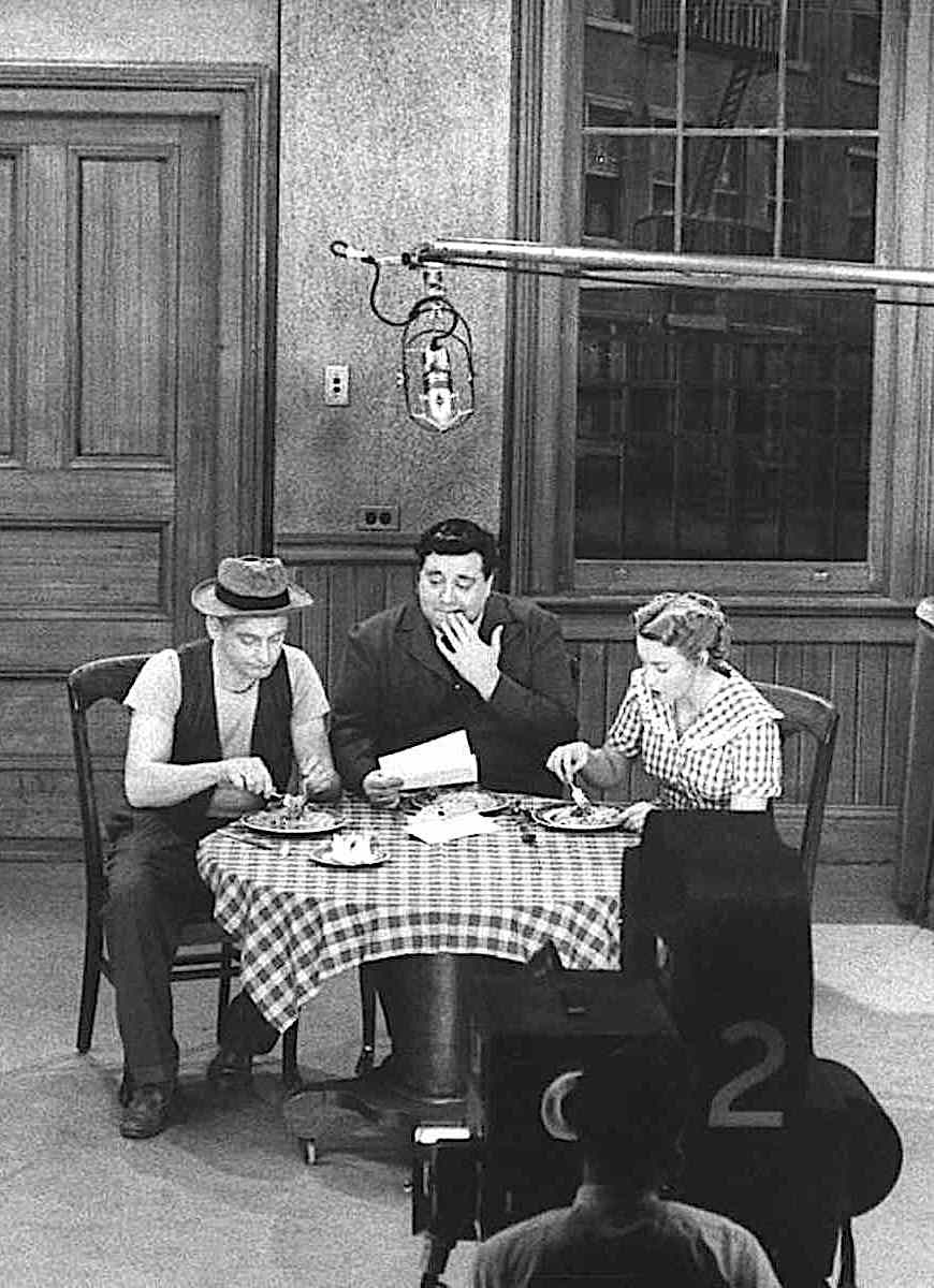 1950s television The Honeymooners shooting on set with Art Carney, Jackie Gleason and Audry Meadows as Norton and the Cramdens
