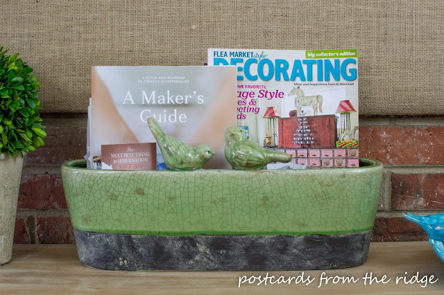 Stash magazines and catalogs in a planter. Plus many more ideas for kitchen organization.