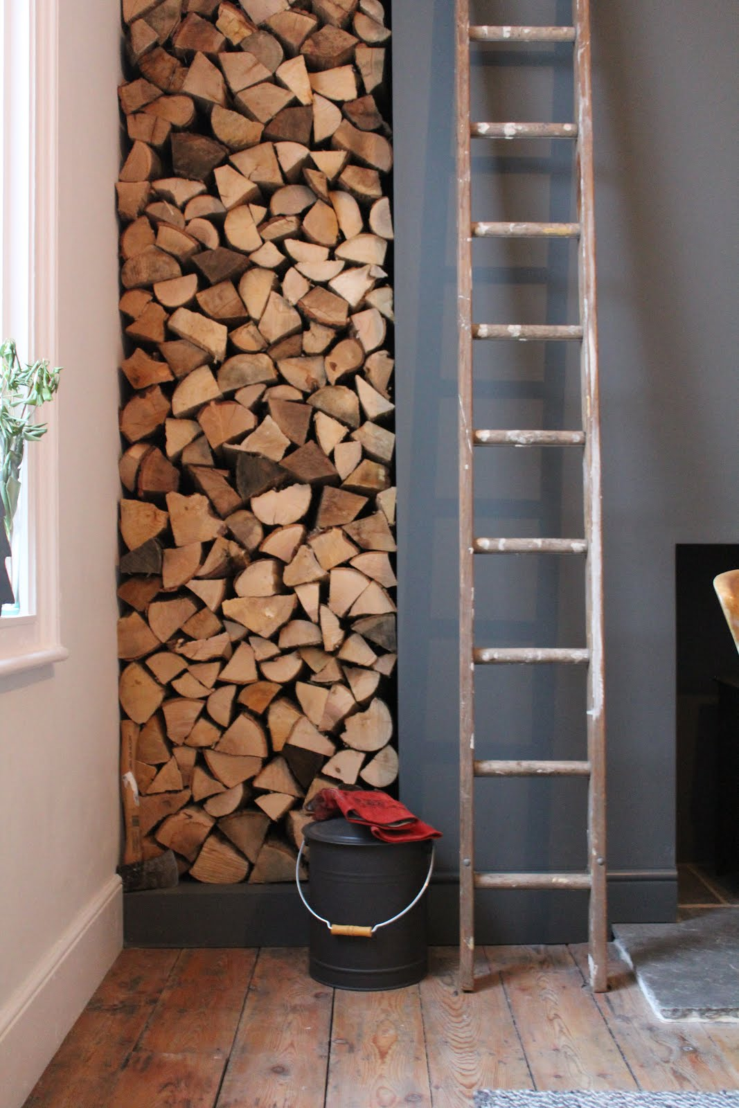 Feature Log Stack in Dining Room