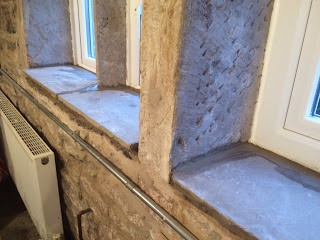 A completed stone windowsill