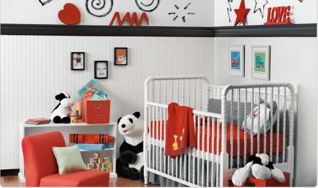 Cuartos de beb en rojo gris dormitorios colores y estilos - Color paredes habitacion bebe ...