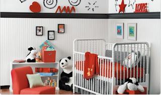 cuarto bebé gris rojo