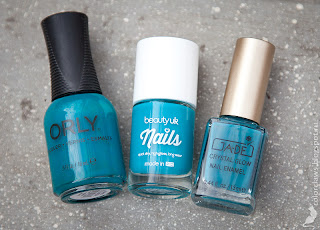Orly Teal Unreal, Beauty UK Tealed with a Kiss, Ga-De Tiffany Blue
