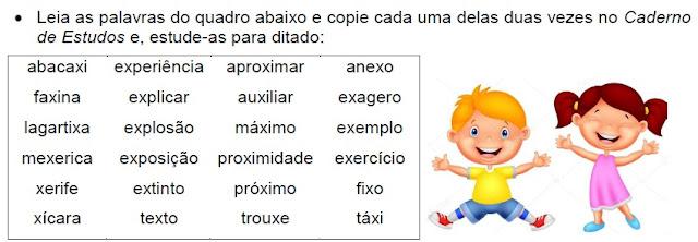 Atividade com palavras que têm SONS DO X