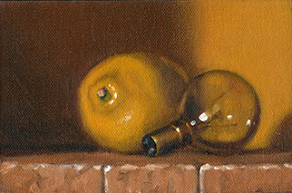 Oil painting of a small incandescent light bulb beside a lemon.