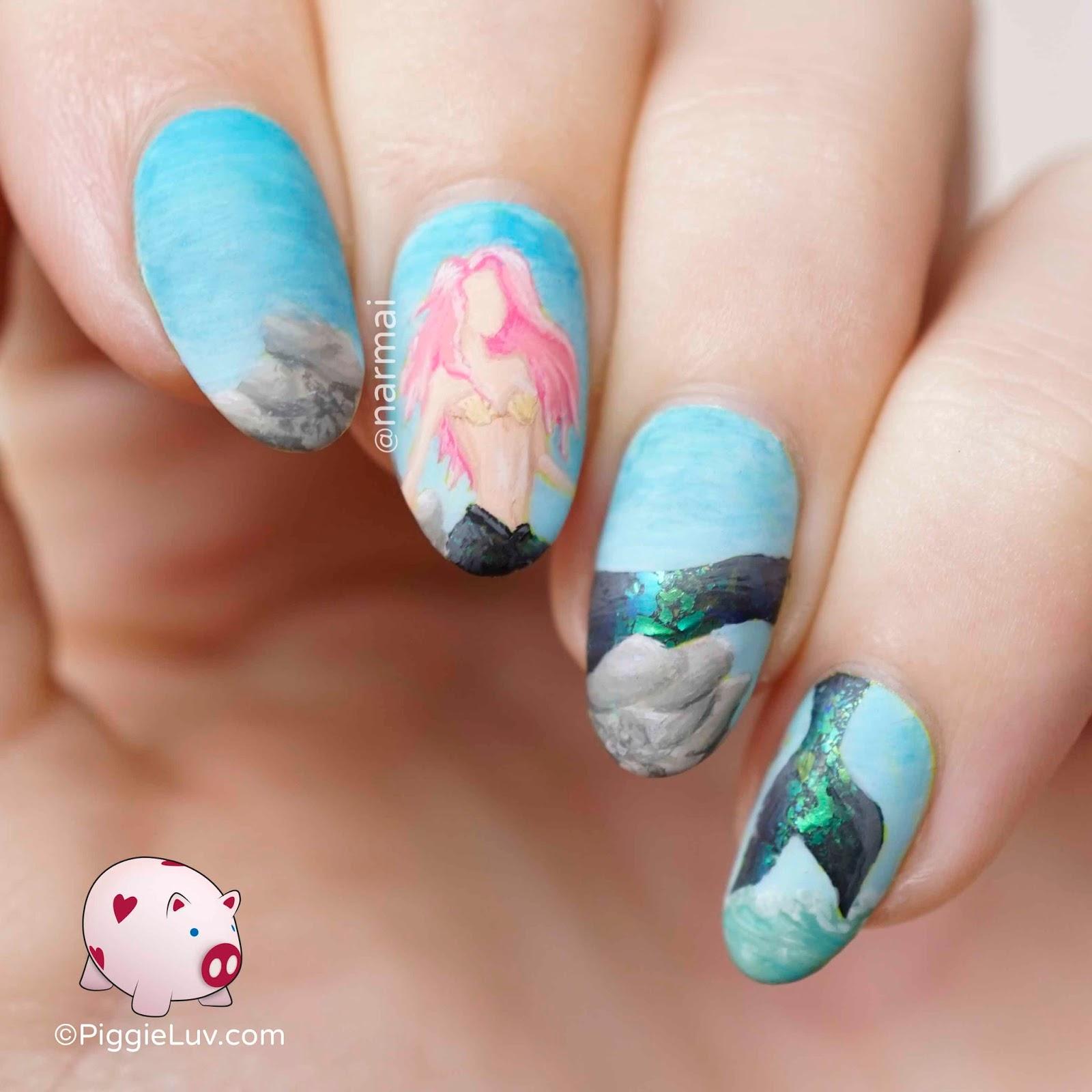 PiggieLuv: Pink haired mermaid nail art