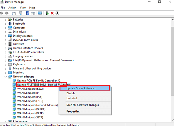 Device Manager Network adapters