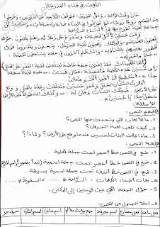 فرض في مادة اللغة العربية السنة الثالثة ابتدائي الجيل الثاني