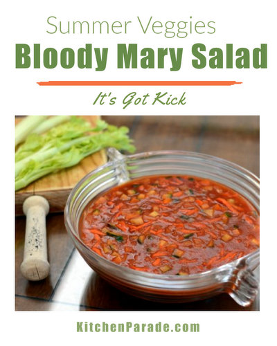 Bloody Mary Salad ♥ KitchenParade.com, a vegetable-packed jello salad, perfect for potlucks, dieters and healthy eaters. Low Carb. Weight Watchers Friendly.